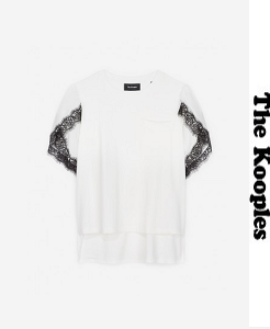 더 쿠플스 2018ss TWIN FABRIC T-SHIRT WITH LACE ON THE SLEEVES(할인가 문의 주세요)