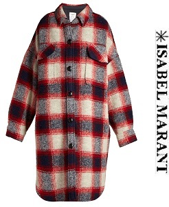 이자벨마랑 에뚜왈18FW Gario oversized checked wool-blend coat